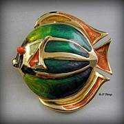 Beautiful Colorful Liz Claiborne Enamel Fish Brooch Pin Greens Oranges Purple