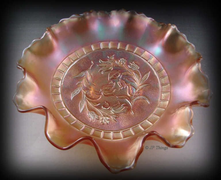 Dugan Marigold Carnival Glass Windflower 10 Ruffled Bowl