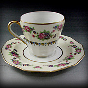 Limoges C. Ahrenfeldt Porcelain Yellow Floral Border Demitasse Cup & Saucer