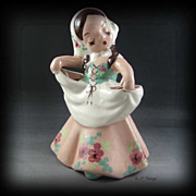DeLee Art Pottery Nina Figurine Planter Brown Hair Green Mauve Dress Org Sticker