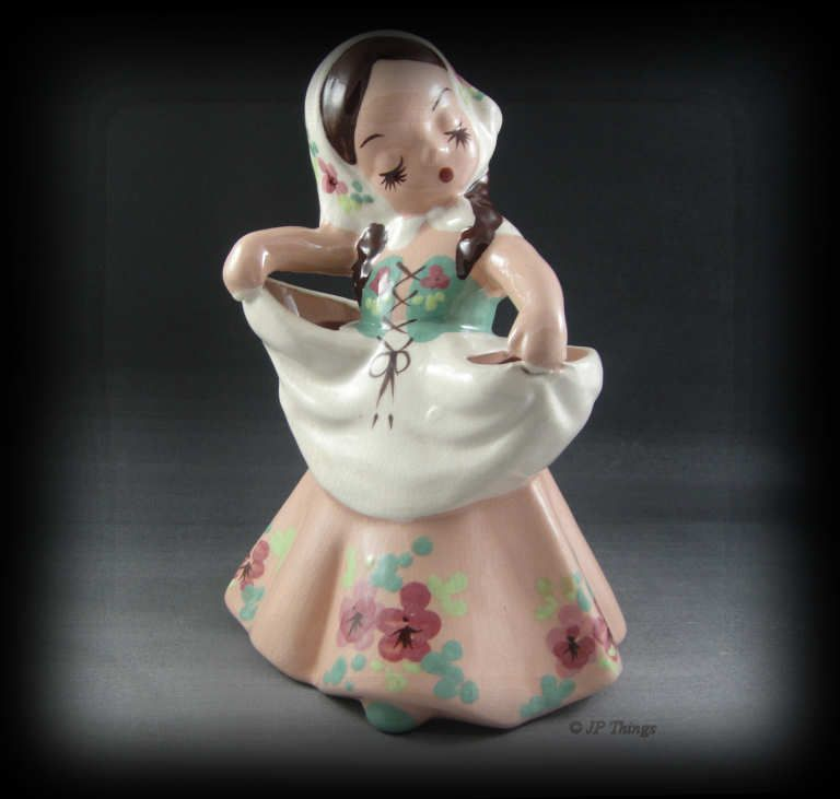 DeLee Art Pottery Nina Figurine Planter Brown Hair Green Mauve Dress Org Sticker