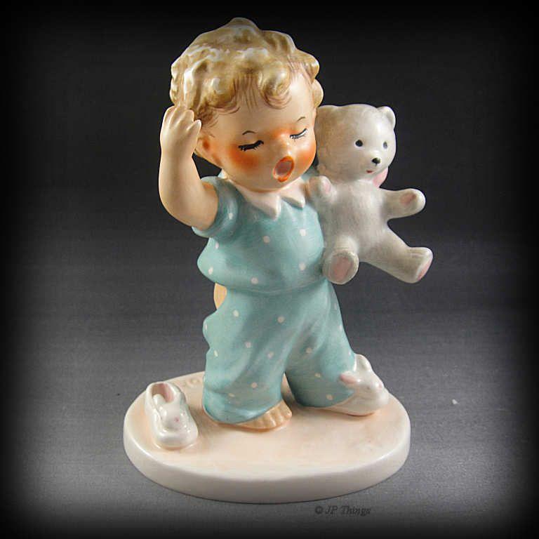Goebel Charlot Byj Sleepy Head Blonde Hair Boy Yawning Figurine with Teddy Bear
