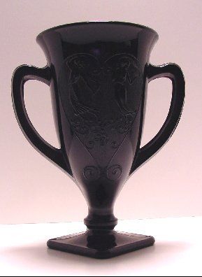 Dancing Nymphs Black Amethyst Trophy Cup Vase Line 473 L.E. Smith