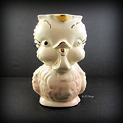 American Bisque Gold Gilt Pink Chick Pitcher Marked USA