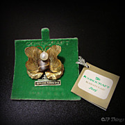 Corocraft Butterfly Brooch Karatclad Cultured Pearl & Tiger Eye Original Tags Card