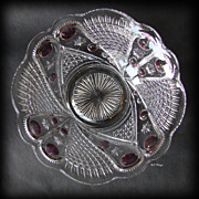 EAPG Blazing Cornucopia Large Glass Berry Bowl with Stain US Glass Company