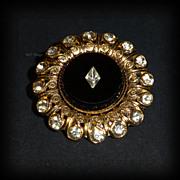 Stunning Brooch Black Glass with Diamond Shaped Inlay Rhinestone Gold Tone Setting