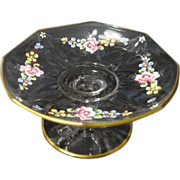 Rose Floral Hand Painted Octagon  Footed Sweetmeat with Gold gilt Edging