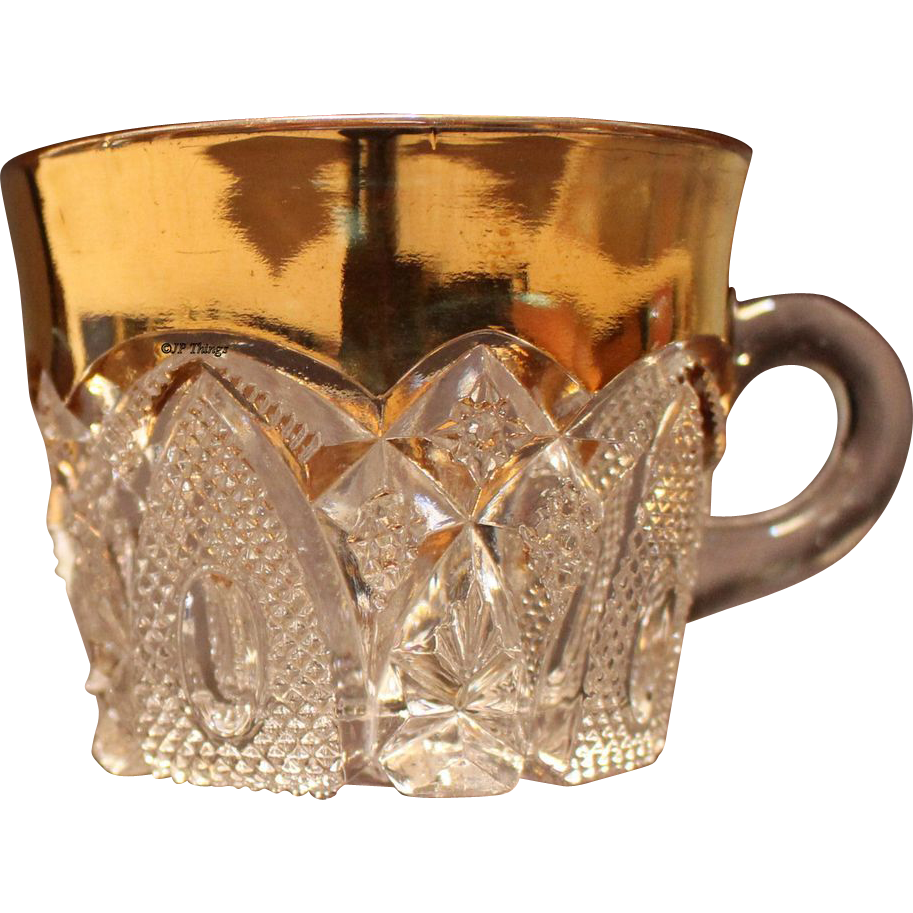 EAPG US Glass Gold Gilt New Hampshire Custard Cup #15084 States Pattern