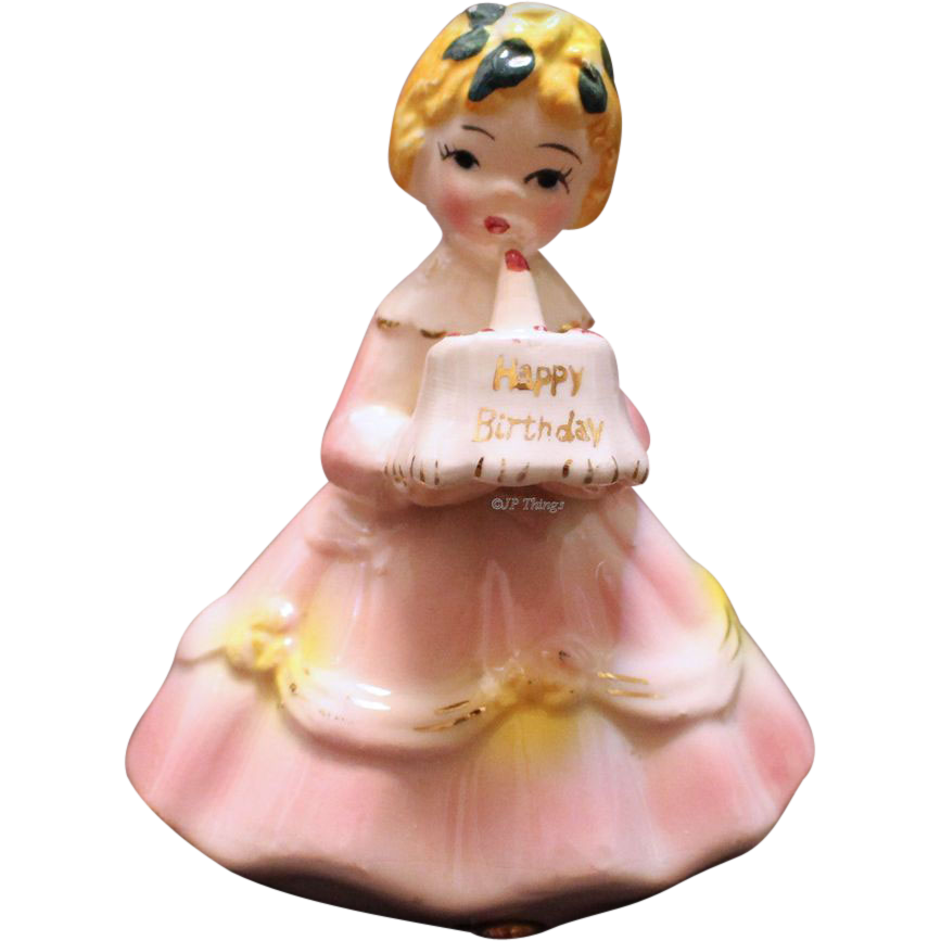 Adorable Happy Birthday Blond Hair Girl Figurine with Birthday Cake