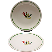 Steubenville China Family Affair Pair Bread n Butter Plates Rooster Hen & Chicks