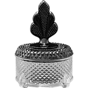 New Martinsville Geneva Brilliant Diamond Puff Box with Black Plume Finial Top