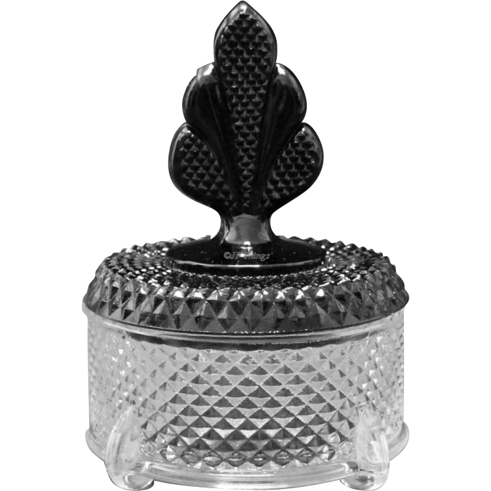 New Martinsville Geneva Brilliant Diamond Puff Box with Black Plume Finial Top