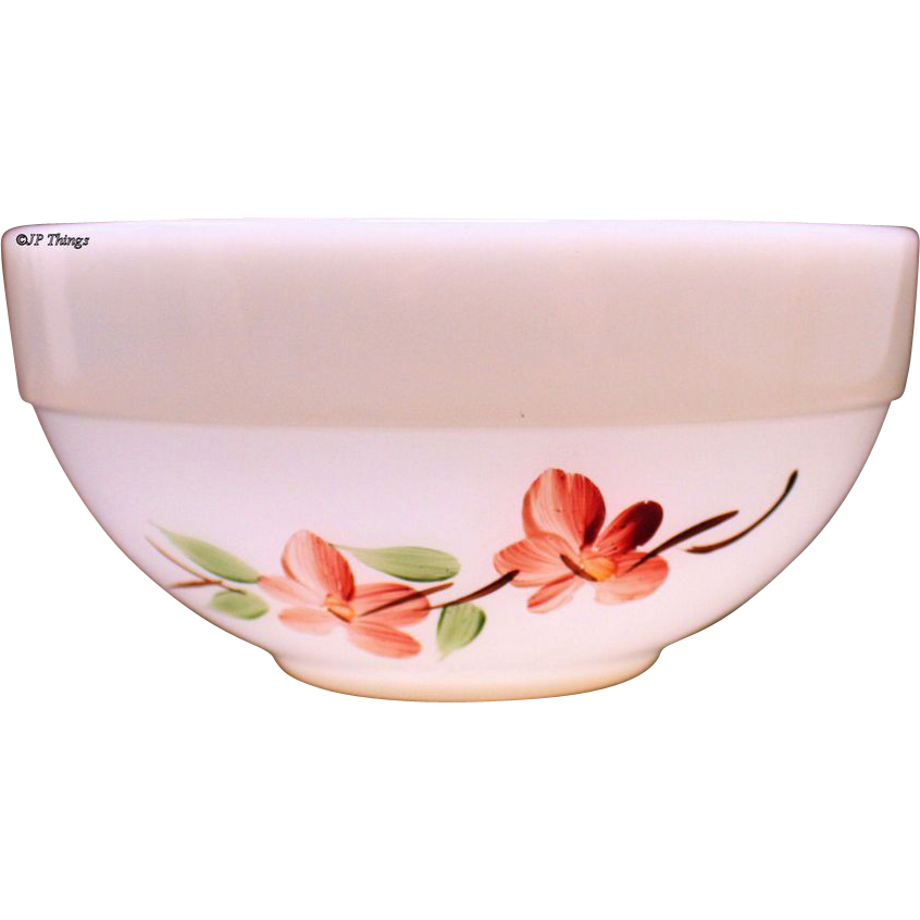 Fire King Gay Fad Peach Blossom 6 inch Colonial Kitchen Mixing Bowl