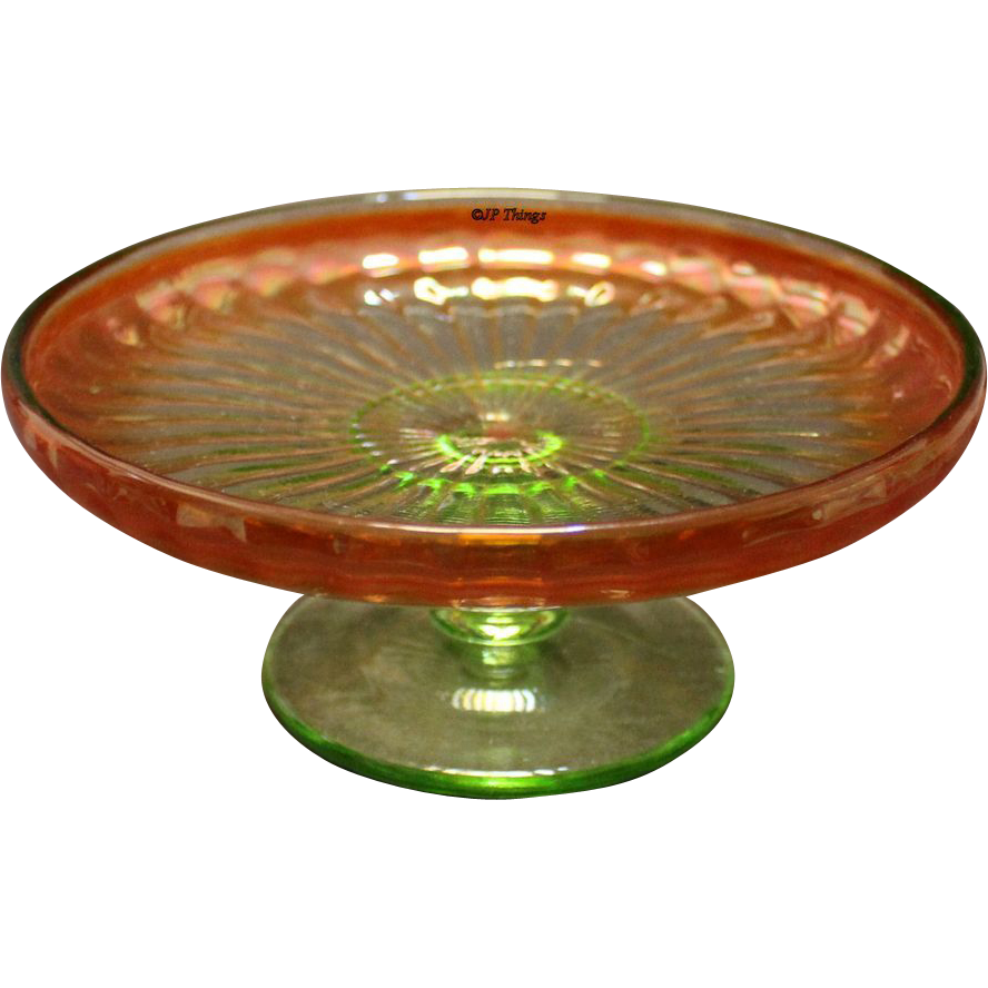 Carnival Glass Rayed Compote Tray Green Glass with Marigold Iridized Surface