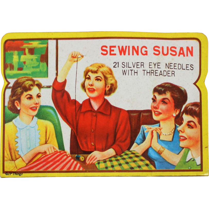 Vintage Sewing Susan Sewing Needle Book with Red Shirt Woman