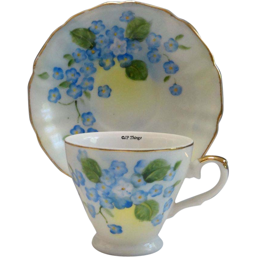 Lefton China Gold Gilt Blue Forget-Me-Not Demitasse Cup and Saucer SL 4178