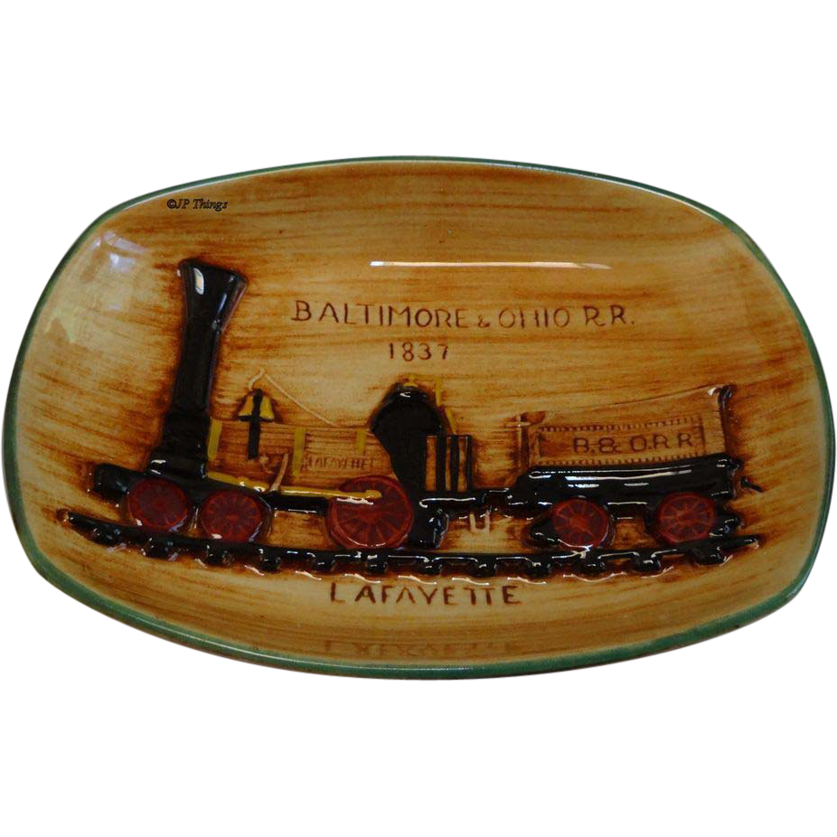 Pennsbury Pottery Baltimore & Ohio Railroad Train Plaque Lafayette with Green Trim