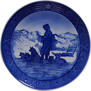 1978 Blue n White Christmas Plate by Royal Copenhagen Greenland Scenery Sled Dogs Sled and Musher