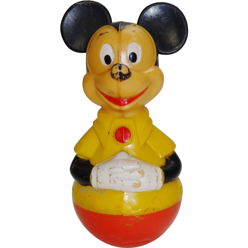 1975 Mickey Mouse Roly Poly Rattle by Gabriel Industries Walt Disney Productions