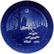 1974 Blue n White Christmas Plate by Royal Copenhagen Owl and Moon Winter Twilight