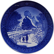 1973 Blue n White Train Christmas Plate by Royal Copenhagen Going Home for Christmas
