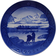 1968 Blue n White Christmas Plate by Royal Copenhagen Dog Boat The Last Umiak