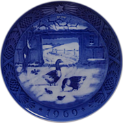 1969 Blue n White Christmas Plate by Royal Copenhagen Geese In the Old Farm Yard