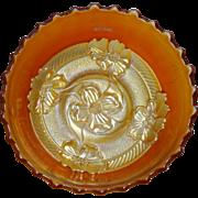 Dugan Apple Blossoms Marigold Carnival Glass Bowl