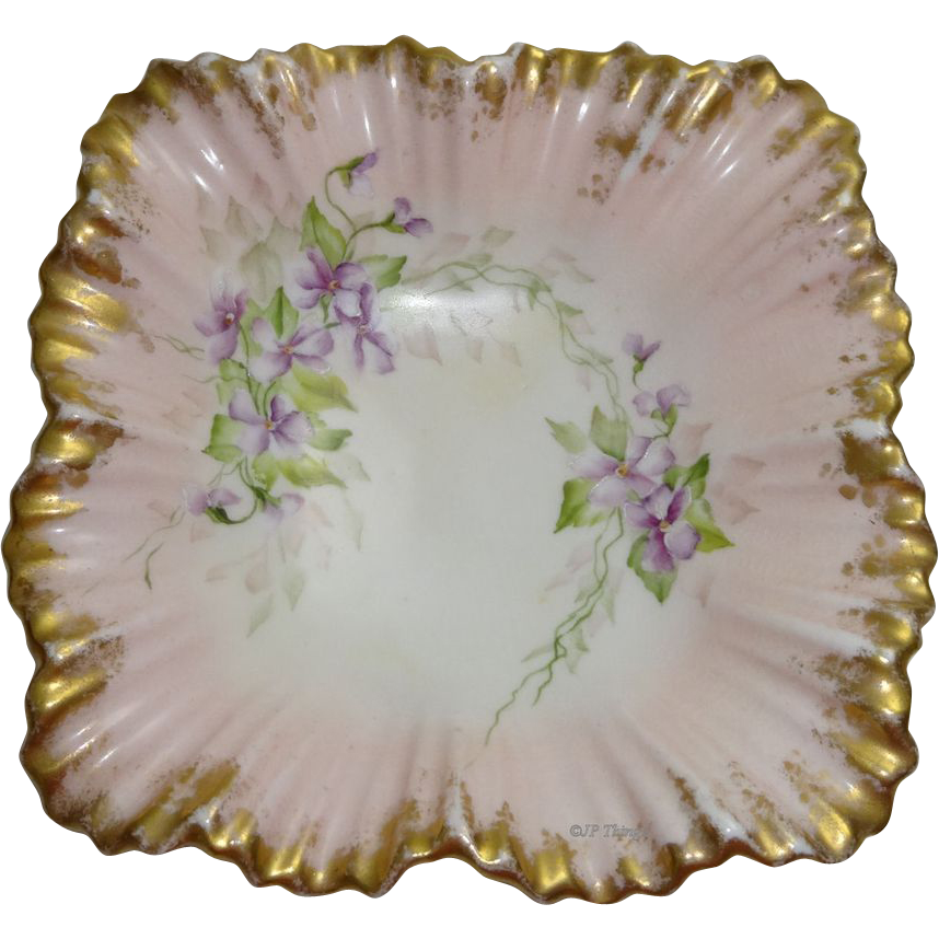 Unusual Coalport Pink & Gold Ruffled Square Trinket Dish with Handpainted For-Get-Me-Not Violets
