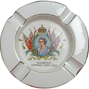 1953 Royal Winton China Queen Elizabeth II Coronation Ashtray White & Gold gilt