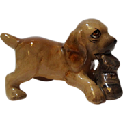 Miniature Brown Cocker Spaniel With Boot Porcelain Figurine