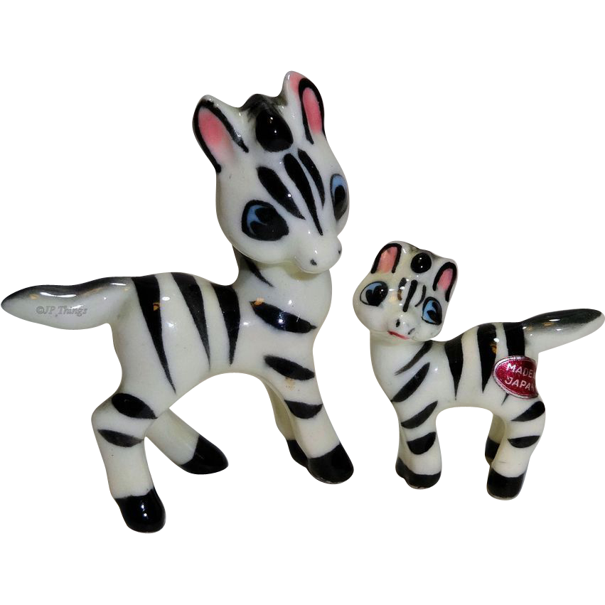 Miniature Momma Zebra and Baby Zebra  Porcelain Figurines Very Unique