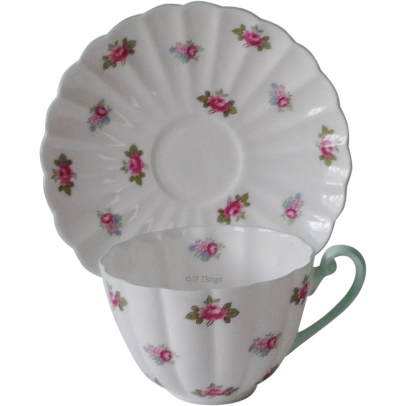 Shelley English China Rosebud 13426 Ludlow Shape Tea Cup & Saucer Mint Green Trim
