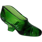 Heavy Green Crystal Shoe with Cuban Heel and Beaded Band