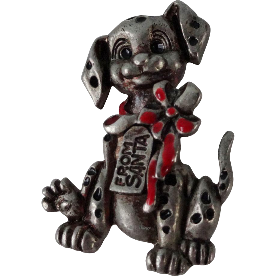 101 Dalmatians Dalmatian Puppy Red Enamel Bow Santa Tag Pewter Pin Brooch #48312