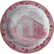 Old English Staffordshire Ware Red Transferware  Lincoln's Birthplace Kentucky Souvenir Plate