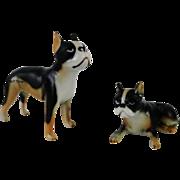 Adorable Miniature Hi Style Bone China Boxer Dog Pair by Bridge China