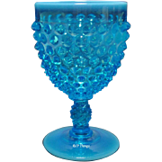 Fenton Art Glass Blue Opalescent Hobnail Footed Water Goblet #3845
