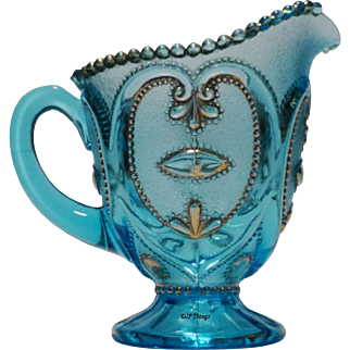 Dugan Glass Jeweled Heart a.k.a. Victor Blue & Gold EAPG Footed Creamer