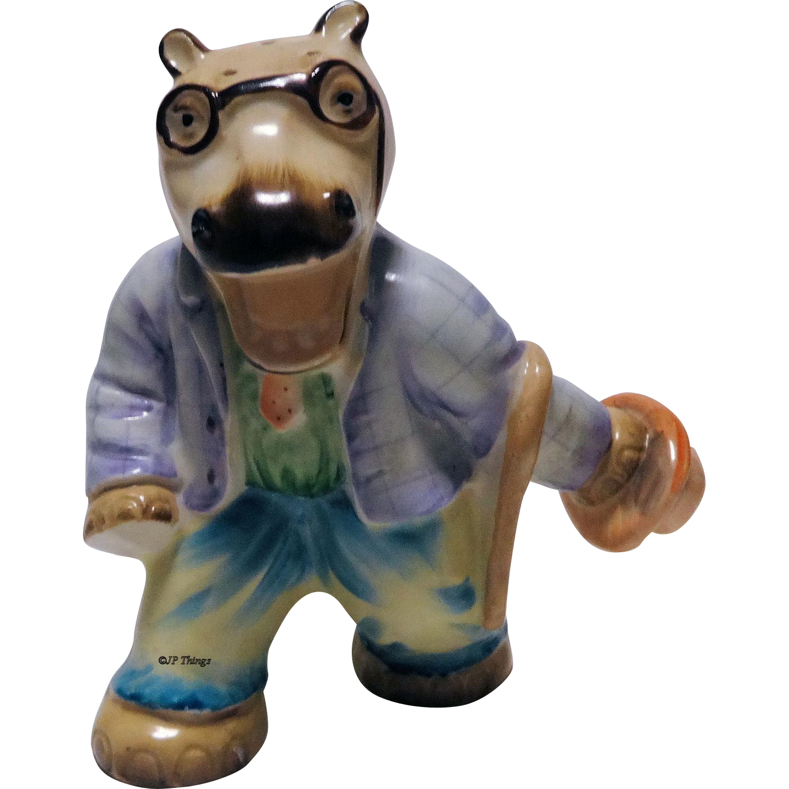 Dapper Dressed Hippopotamus Shaker Figurine with Spectacles, Cane and Hat