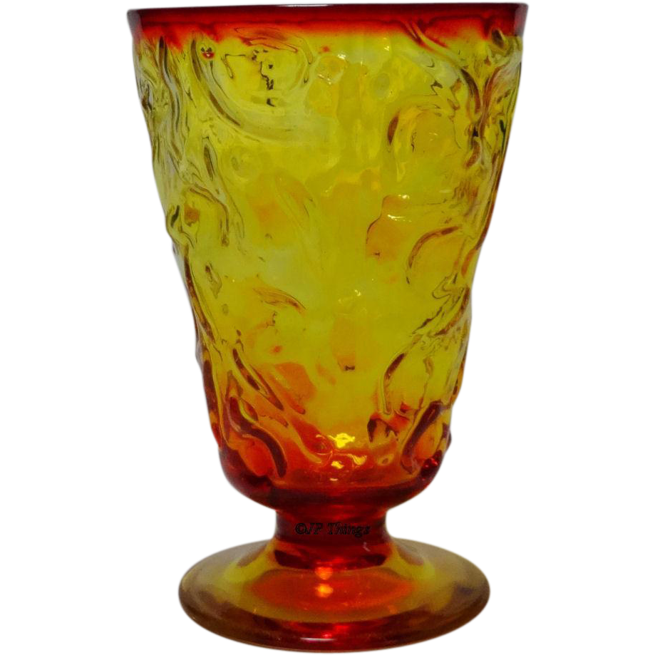 Flame El Rancho Bryce Glass company Footed Tumbler