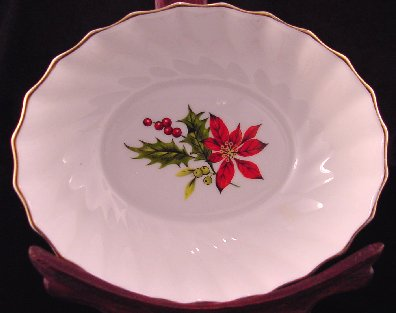 Royal Adderley Swirled Sweetmeat Dish In Poinsettia Pattern