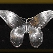Elegant Silver Tone Detailed Butterfly Brooch