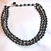 Vintage West Germany Black Faceted Glass Choker/Necklace
