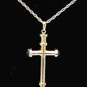 Vintage Whiting & Davis Goldtone Cross Pendant with Chain