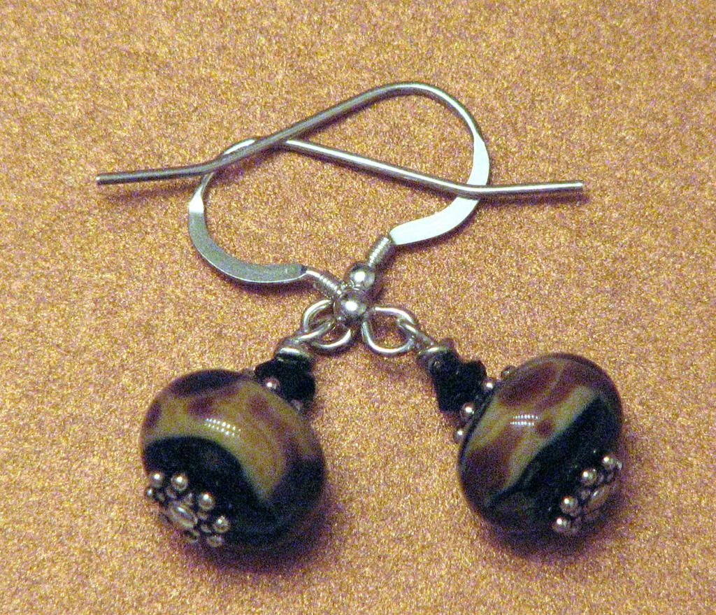 Raku lampwork earrings in deep earth tones