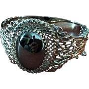 Whiting Davis large hematite cuff bracelet.