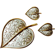 Vintage Trifari Leaf Motif Set in White Enamel
