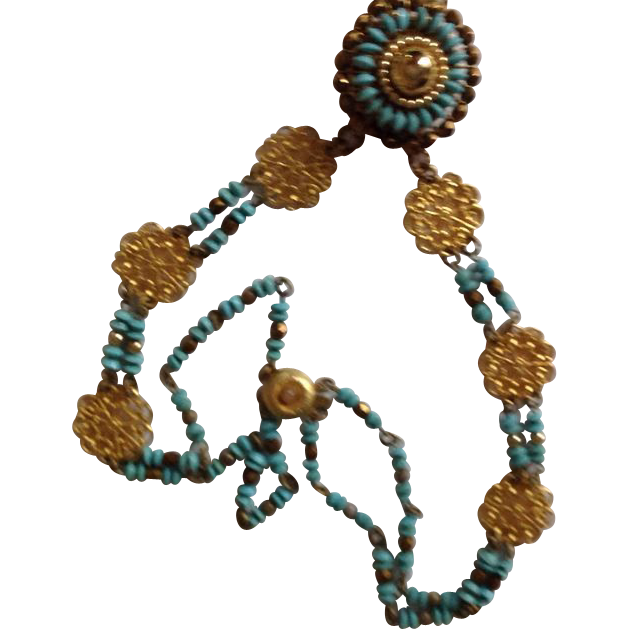Brass, copper and faux turquoise necklace -awesome -gm